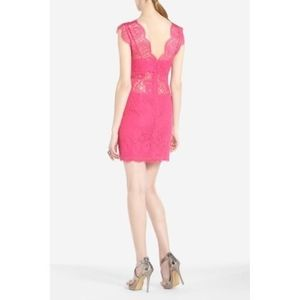 64009a44d39 NWT BCBG Max Azria Devom Hot Pink Lace Mini Dress